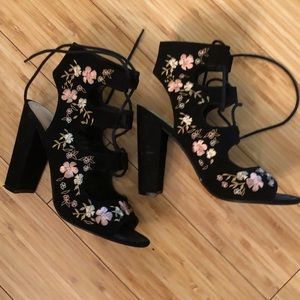 Just Fab Lace up Embroidered Sandals